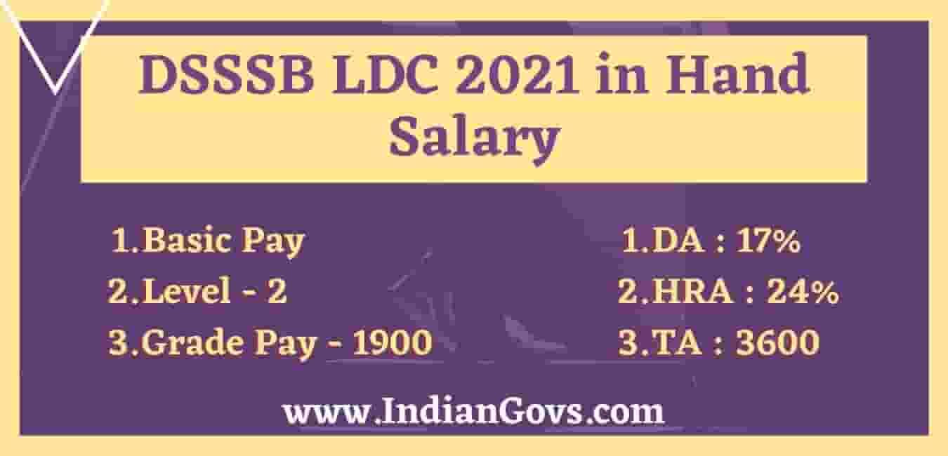 DSSSB LDC In Hand Salary