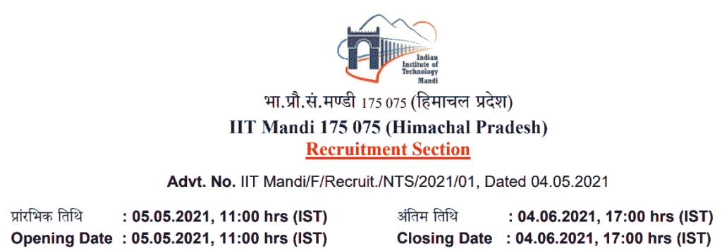 IIT Mandi Non-Teaching Recruitment 2021
