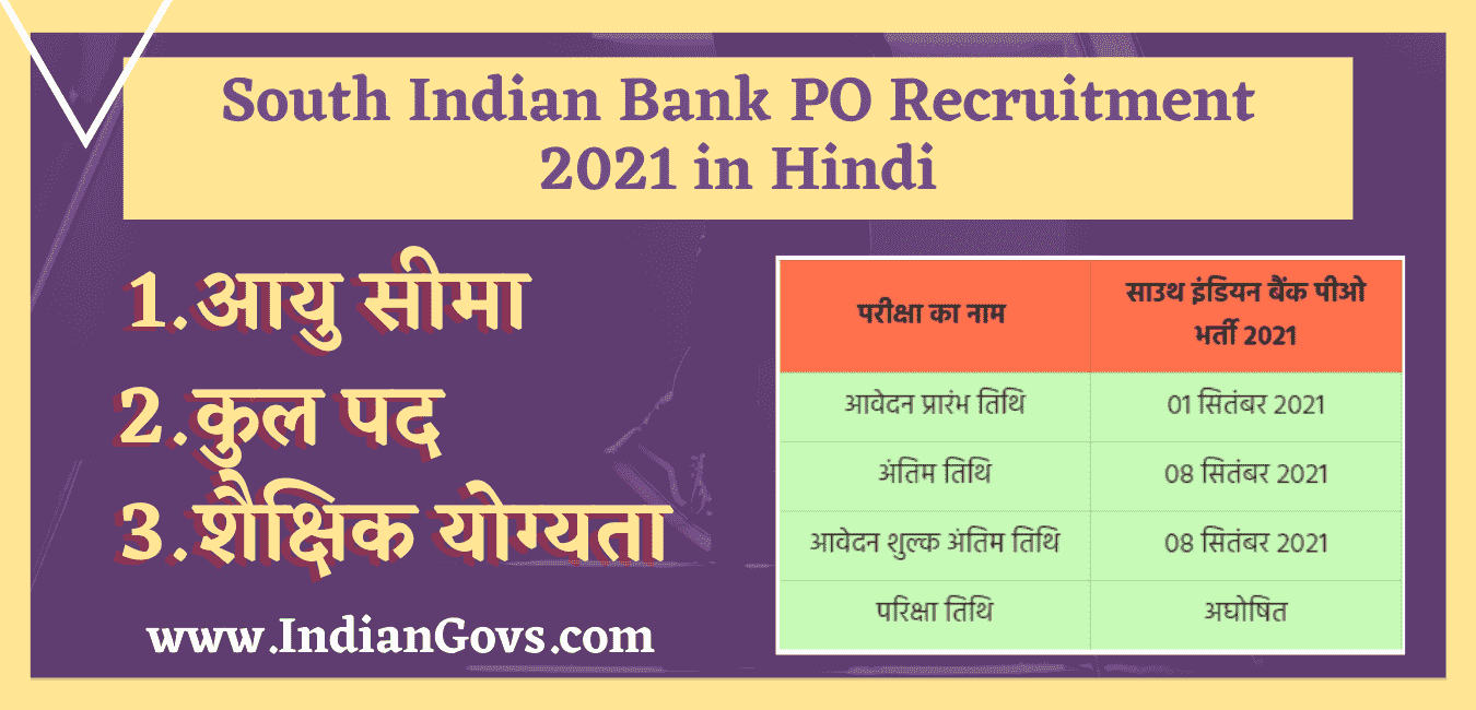 South Indian Bank PO Recruitment 2021 in Hindi