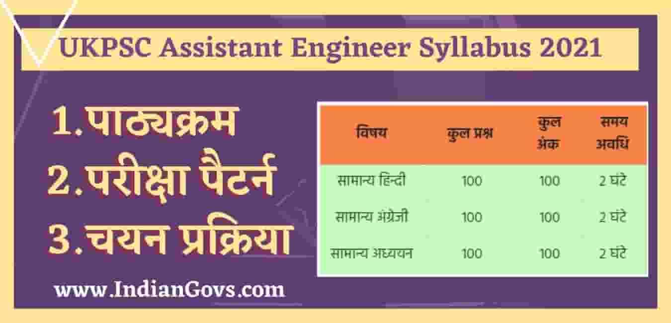UKPSC Assistant Engineer Syllabus 2021 in Hindi