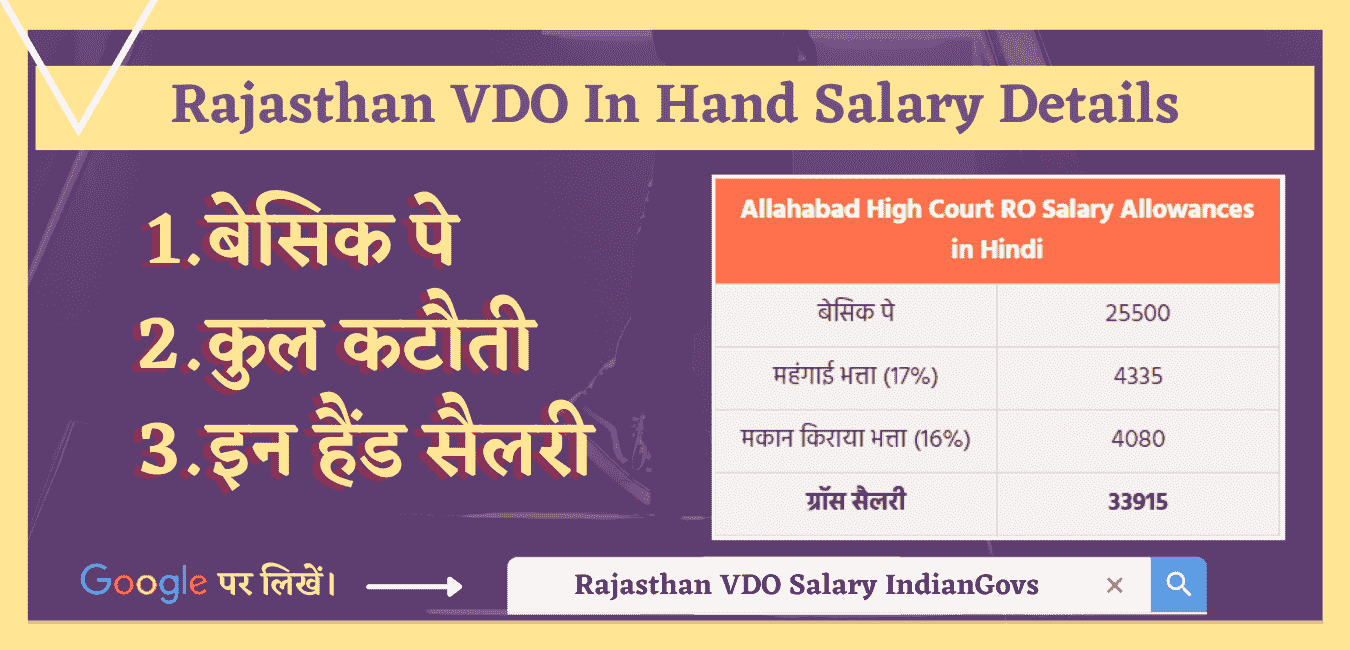 rajasthan vdo salary in hand